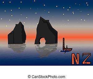 New Zealand night landscape vector illustration postcard