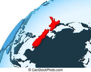 New Zealand on blue globe