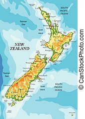 New Zealand physical map - Highly detailed physical map of ...