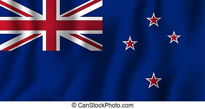 New Zealand realistic waving flag vector illustration. National country background symbol. Independence day