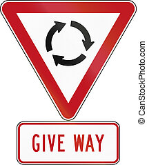 New Zealand road sign assembly - Give Way at Roundabout.