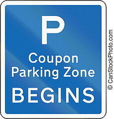 New Zealand road sign - Coupon parking zone begins