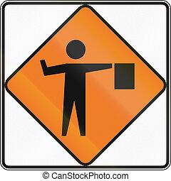 New Zealand road sign - Flagman ahead.