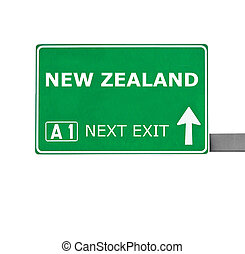 NEW ZEALAND road sign isolated on white