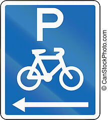New Zealand road sign - Parking for bicycles on the left of this sign