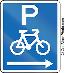 New Zealand road sign - Parking for bicycles on the right of this sign