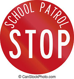New Zealand road sign RG-28 - Stop for School Patrol