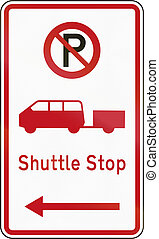 New Zealand road sign - Shuttle stop.