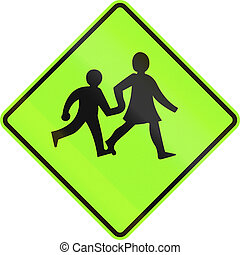 New Zealand road sign - Watch for children crossing, fluorescent version