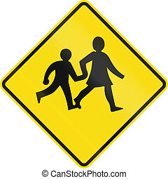 New Zealand road sign - Watch for children crossing