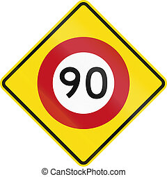 New Zealand road warning sign - Speed limit ahead.