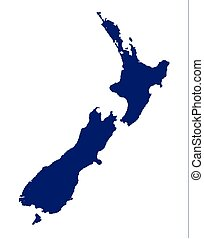 New Zealand Silhouette - Outline map of New Zealand over a ...
