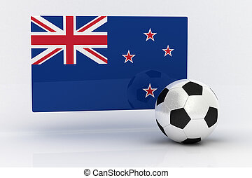 New Zealand Soccer - Flag of New Zealand with soccer ball