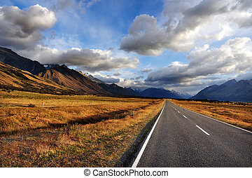 New Zealand South Island - An empty road in Mount Cook...