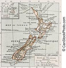 New Zealand old map. By Paul Vidal de Lablache, Atlas...