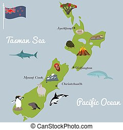 New Zealand tourist map with famous landmarks.