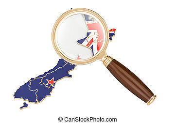 New Zealand under magnifying glass, analysis concept. 3D rendering