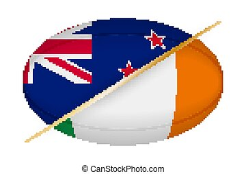 New Zealand versus Ireland, concept for rugby tournament. ...