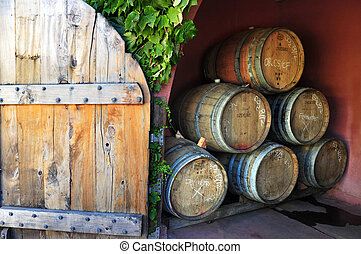 New Zealand Waiheke Island - Wine barrels in a vineyard on...