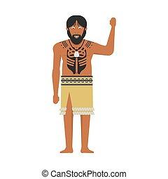 illustration of New Zealand native inhabitant Maori on white background. New Zealand Waitangi Day the 6th of February .