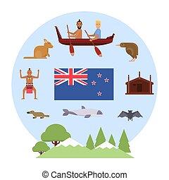 illustration of New Zealand symbols. New Zealand Waitangi day on the 6th of February.