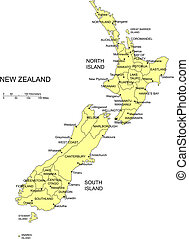 New Zealand with Administrative Districts - New Zealand,...