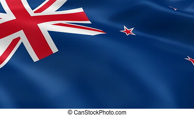 New Zealander flag in the wind