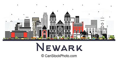 Newark New Jersey City Skyline with Color Buildings Isolated on White.