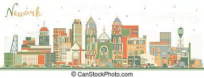 Newark New Jersey City Skyline with Color Buildings.