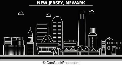 Newark silhouette skyline. USA - Newark vector city, american linear architecture, buildings. Newark travel illustration, outline landmarks. USA flat icons, american line banner