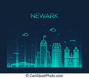 Newark skyline New Jersey USA vector linear style