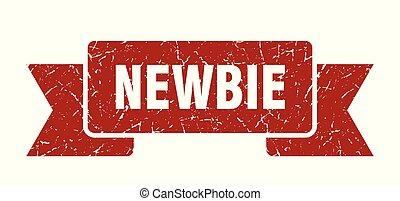 newbie grunge ribbon. newbie sign. newbie banner