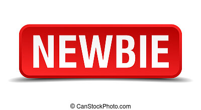 Newbie red 3d square button isolated on white