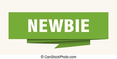newbie sign. newbie paper origami speech bubble. newbie tag...
