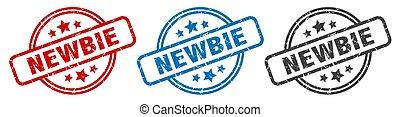 newbie stamp. newbie round isolated sign. newbie label set