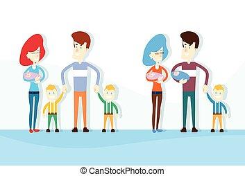 newborn βρέφος , θέτω , οικογένεια , υιόs , συλλογή , γονείς , μεγάλος , μικρόκοσμος
