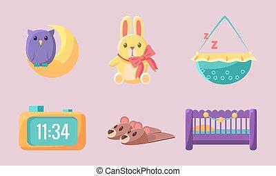 Newborn Baby Accessories Set, Cute Baby Shower Elements Vector Illustration