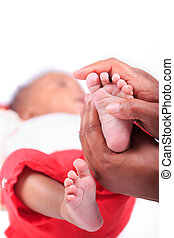 newborn baby african american foot black