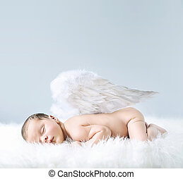 Newborn baby as an angel