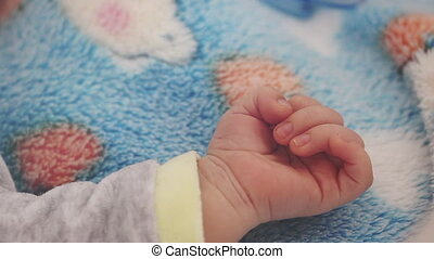 Baby Boy Hand Extreme Close Up - Newborn Baby Boy Hand...