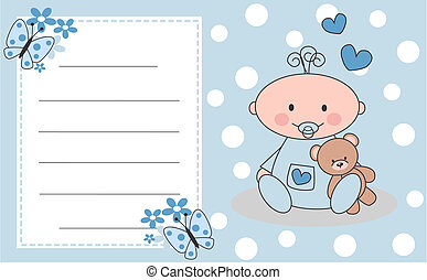 newborn baby boy - celebration or invitation card for...