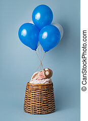 Newborn Baby Boy in Hot Air Balloon