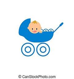 newborn baby boy smiling in the stroller