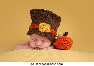 Newborn Baby Boy Wearing a Pilgrim Hat
