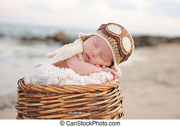 Newborn Baby Boy Wearing an Aviator Hat