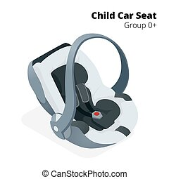Newborn baby Car Seat, isolated on white, isolated on white background. Flat 3d vector isometric illustration. Car seat group 0