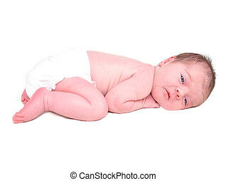 Newborn Baby Child on a White Background