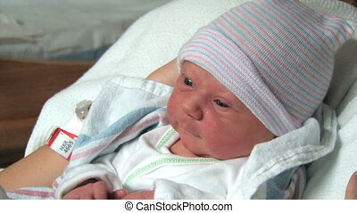Close up of a newborn baby at the hospital