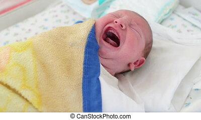 Newborn baby crying at maternity