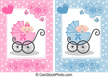 newborn baby girl and baby boy